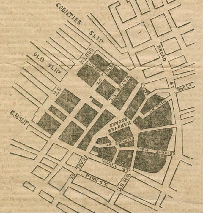 il grande incendio di New York del 1835 New York Historical Society ruins